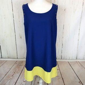 Perch BLU PEPPER Stud Blue Color Block Dress